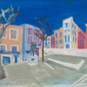 <i>Place Picasso Rue Clement Bel</i> 2020. Oil on board framed in oak. 33.5x 43 cm