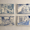 Selection of 4 tiles . Ceramic hand painted tiles 1-10, Vallauris, 2020. Each tile 16.5 x 29 cm