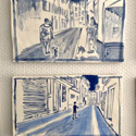 Selection of 2 tiles <i>Two Dogs Avenue de Cannes</i> 2020 and Football, 2020. Ceramic hand painted tiles 1-10, Vallauris, 2020. Each tile 16.5 x 29 cm