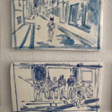 Selection of 2 tiles <i>Batman</i> 2020 and <i>Spectators on the steps of Èglise  Sainte Anne- Saint Martin</i>, Vallauris, 2020. Ceramic hand painted tiles 1-10,Vallauris, 2020. Each tile 16.5 x 29 cm