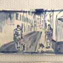 <i>Two Dogs Avenue de Cannes</i> 2020. Ceramic . 16.5 x 29 cm